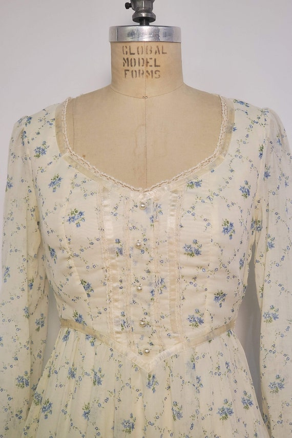 1970's Long Prairie Dress || Gunne Sax Style || W… - image 8