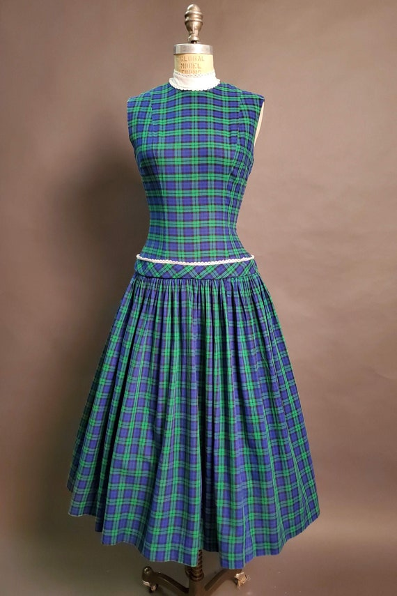Teena Paige || 1950's Cotton Plaid Day Dress || Wa