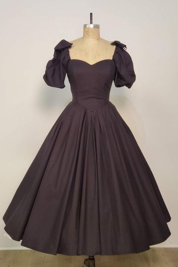 Laura Ashley    1980's Classic Black Cotton Dress