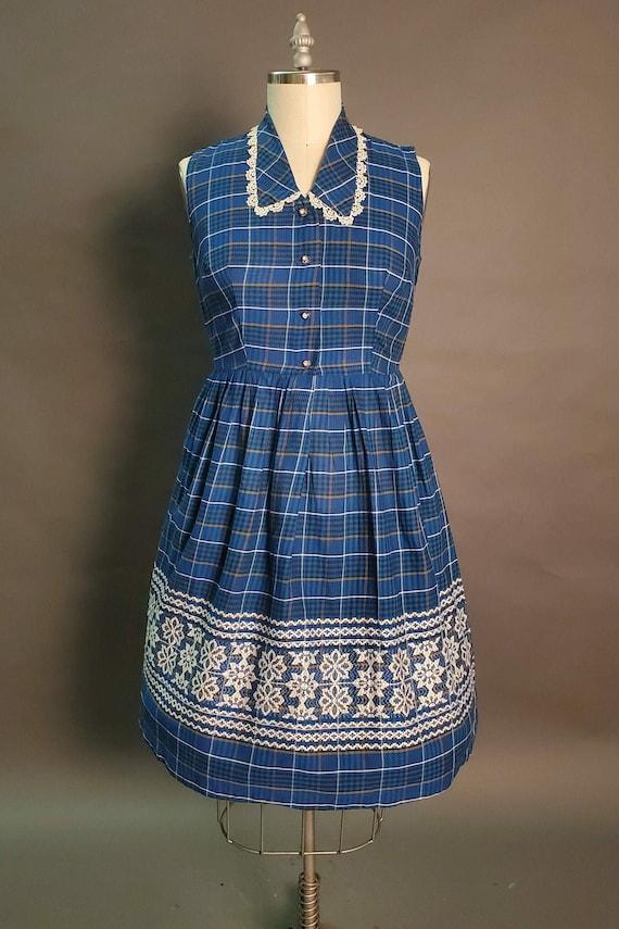 1950's Plaid Cotton Dress    Summer Plaid    Waist