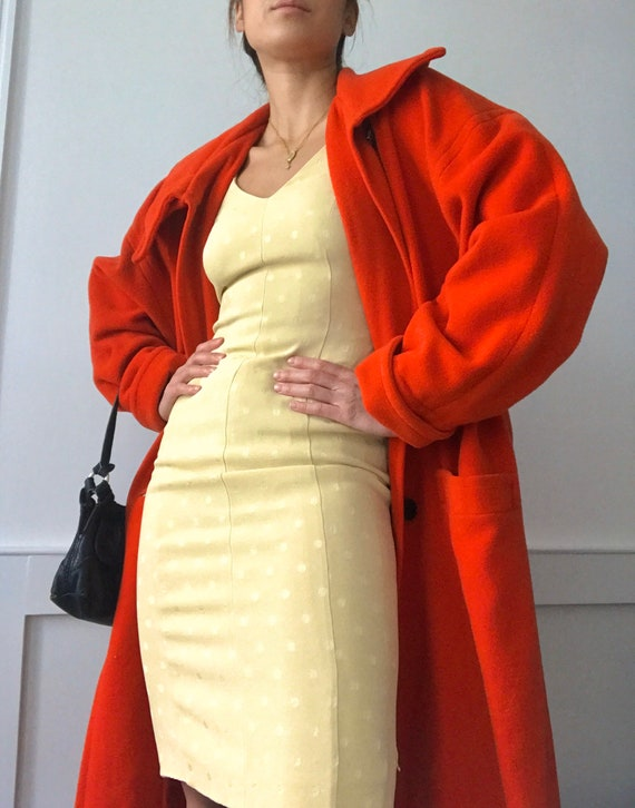 Bright Red Oversized Wool Coat
