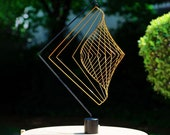 Square Wave Antique Gold & Magnetic Stand - By World Renowned Artist Ivan Black - Handmade Kinetic Spinner - Hanging Mobile Garden Sculpture