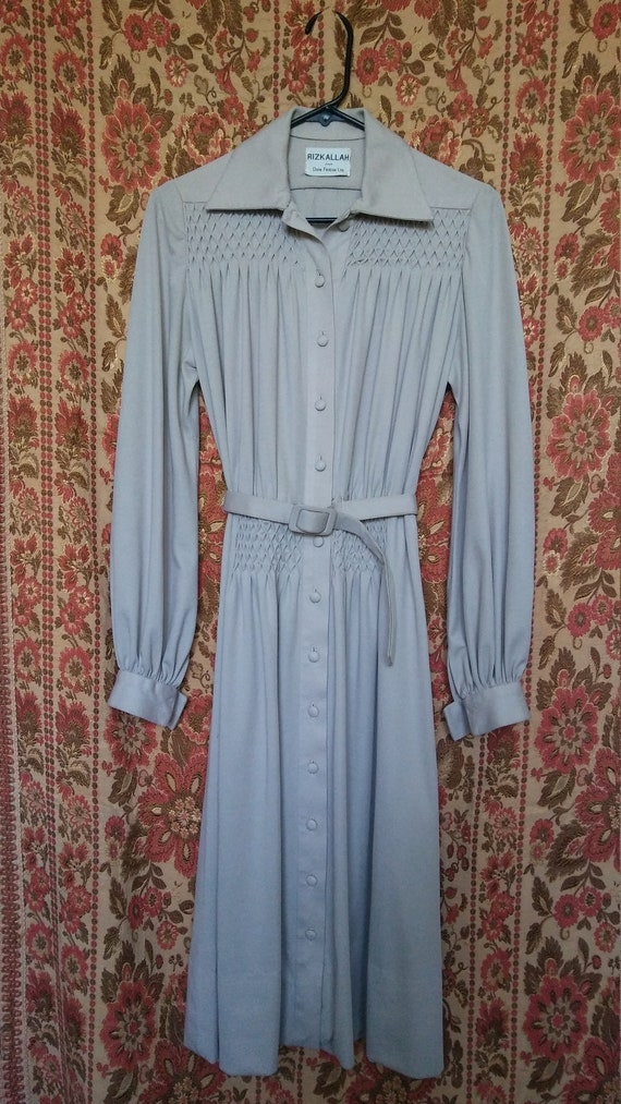 Vtg 1970s Egyptian Couture Rizkallah Camel Dress M