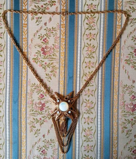Vtg 1960s Moonstone Gold Star Statement Necklace