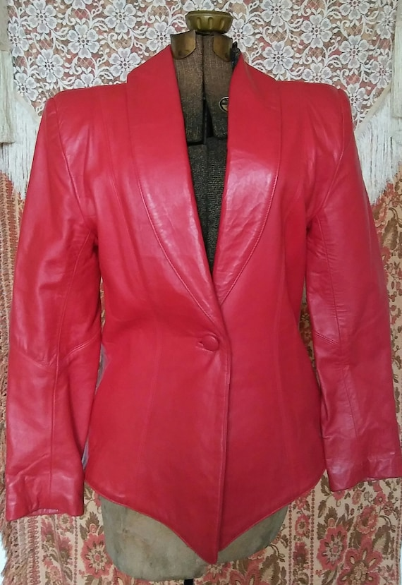 Vtg 1980s Cherry Red Leather Jacket, by Philip Noe