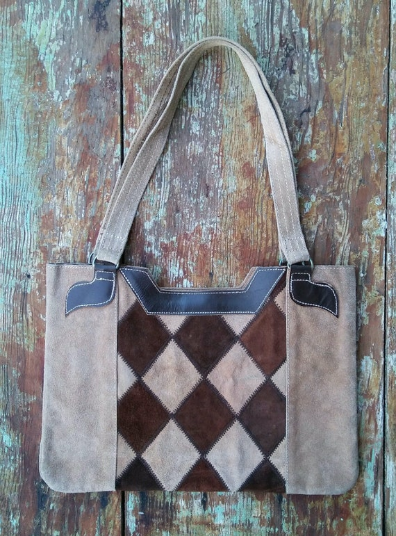 Vtg 1970s BeigeBrown Diamond Suede Purse Made in Mexico