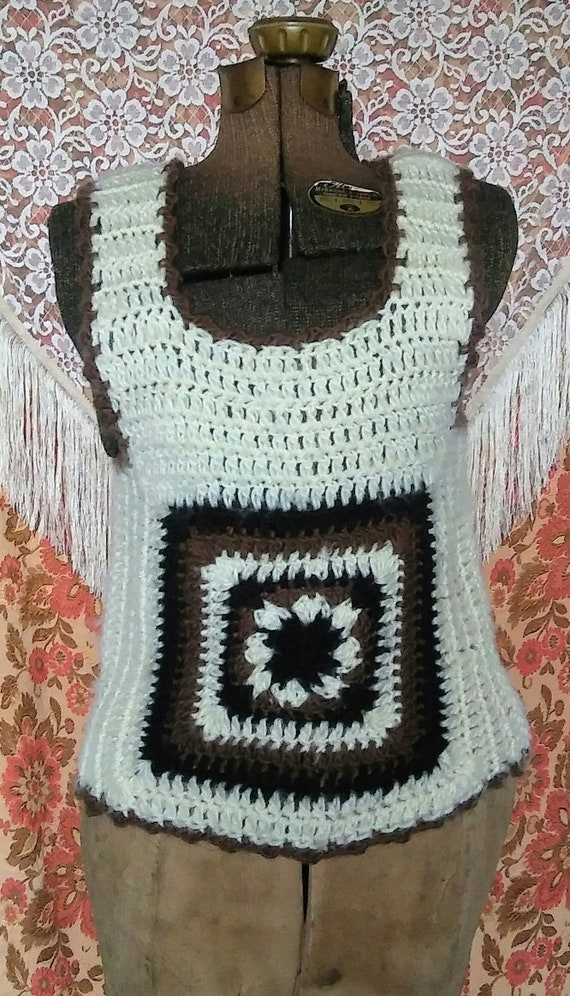 Vtg 1970s Crochet Brown Square Sweater Vest S - image 1
