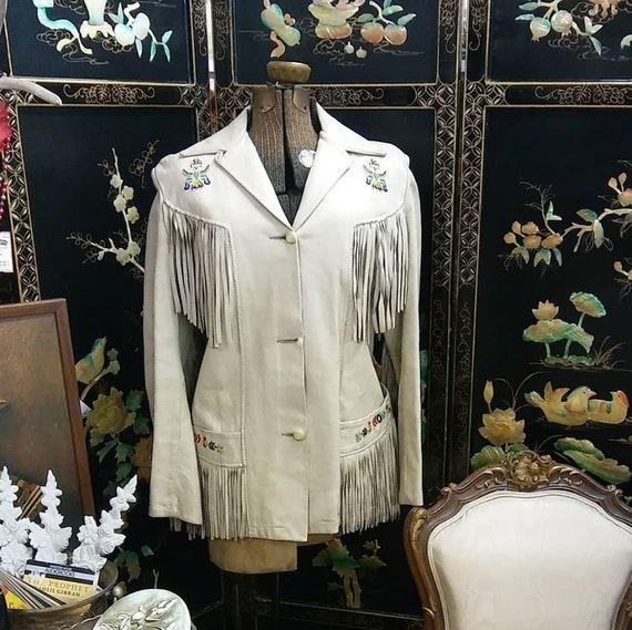 Vtg 1960s/70s White Fringe Seed Bead Leather Jacke