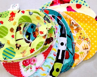 Birth bibs, early ages for babies.  EASY CLOSURE.