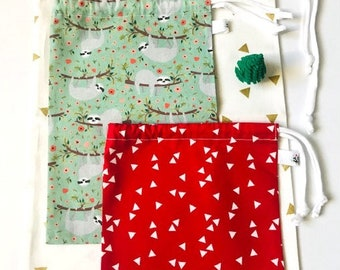 Lot of 3 gift bags in fabric, different sizes / handmade / knot closure