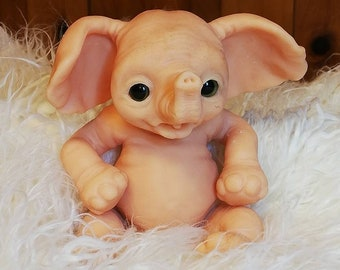 Kibali, Blank silicone Baby Elephant, ready to ship, flesh color undyed