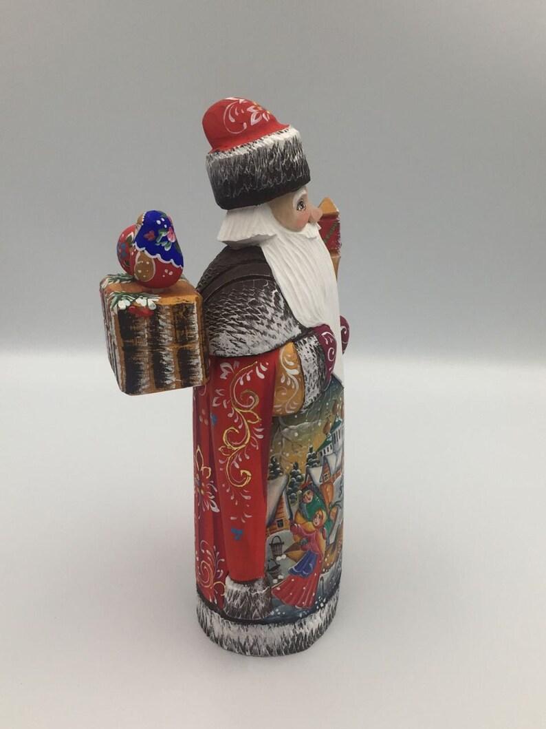 9 Carved Wooden  Santa Figurine Christmas Decor Hand Carved Hand Painted Wooden Toy Christmas Decoration