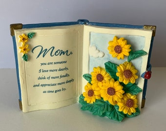 Open Book Mother Poem Vintage Planter White Yellow Flower Rose 4 Tall Ceramic