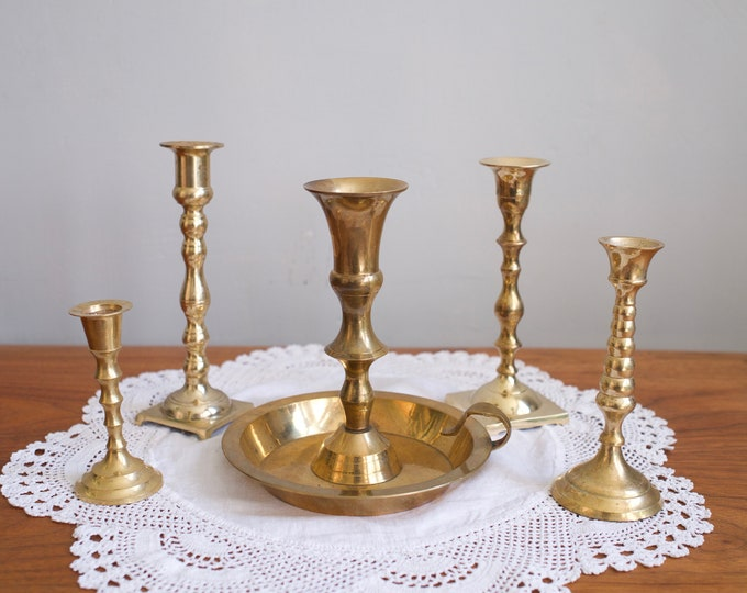 Mixed Set of 5 Vintage Brass Candlestick Holders
