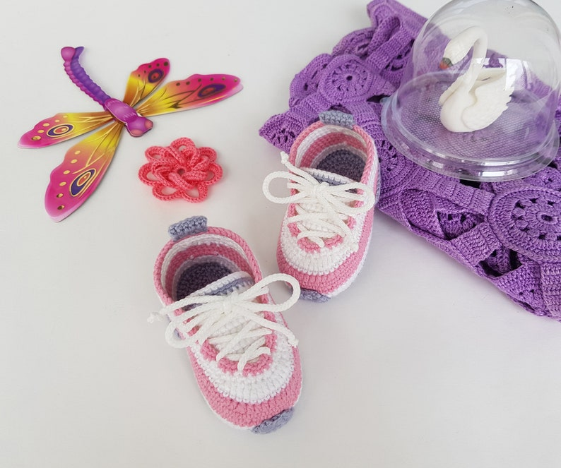 pink baby sneakers Pink baby booties for girl as baby shower gift infant shoes