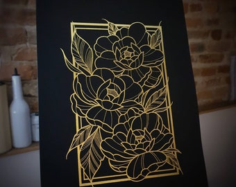 Peonies - Black - Gold or Silver Foil Print