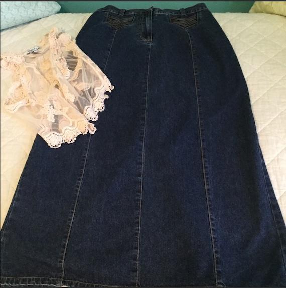 Vintage Bill Blass Maxi Denim Skirt