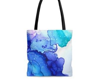 Ocean Inks Tote Bag - Reusable Tote Bag - Colorful Tote Bag