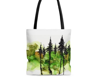 Inky Trees Tote Bag - Reusable Tote Bag - Colorful Tote Bag
