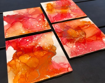 Colorful Tile Coasters - Hand Painted - Set of 4