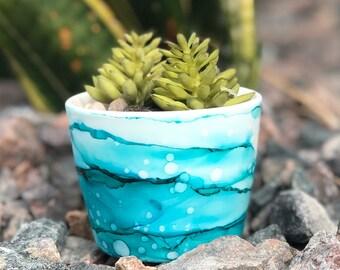 Succulent Planter - Hand Painted - Unique Gift - Colorful Succulent Pot