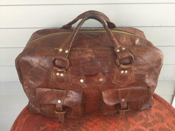 Vintage Leather Bag Suitcase Satchel Soft Quality