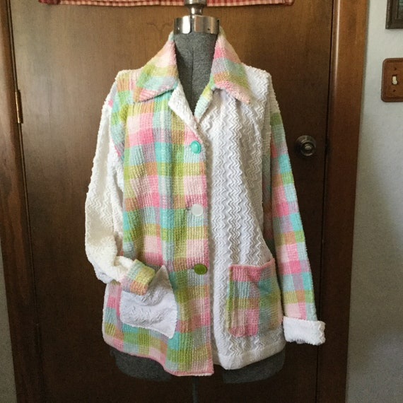 Chenille Woman's Jacket Cozy Hand Made Vintage FAb