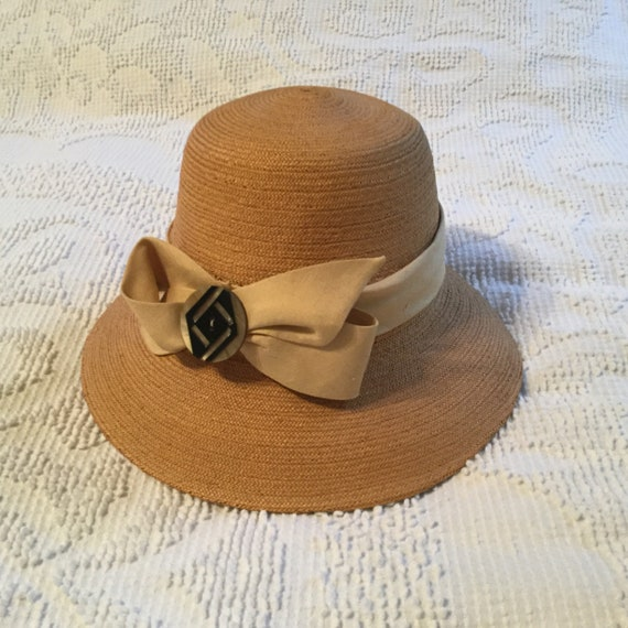 Vintage Straw Hat 1930's Tightly Woven Vintage Clo