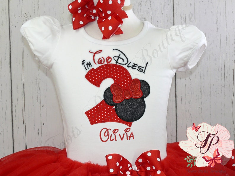 Minie Mouse Two Dles Embroidered Birthday Shirt Personalized photo prop puff sleeve