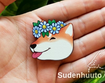 """Flower Crown Shiba Inu - wooden pin/magnet approx 1.5""""/3,8cm"""