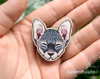 """Sphynx Cat - Wooden Pin/Magnet approx. 1.5""""/3.8cm"""