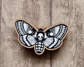 "Deaths Head Hawk Moth - Wooden Pin approx 1.5""/3.8cm"