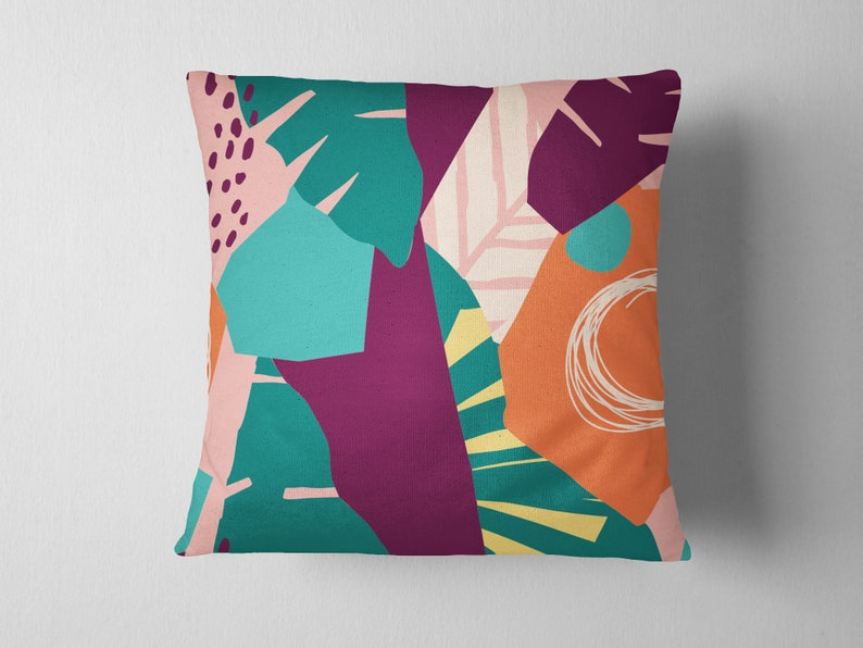 Contemporary Exotic Floral Hawaiian Jungle Pattern Abstract Faux Suede Pillow Colorful Square Art Cushion Modern Decorative