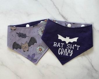 The Crafty Dog Co - Bat Sh*t Crazy Dog Bandana Funny Puns Halloween Autumn Pumpkin Witch Floral