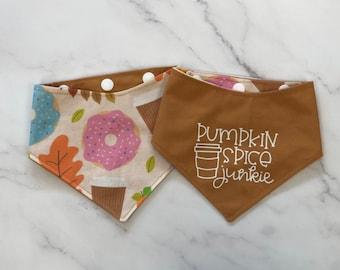 The Crafty Dog Co - Pumpkin Spice Junkie Dog Bandana Funny Puns Autumn Plaid Browns Greens Coffee Leaves Donut Doughnut