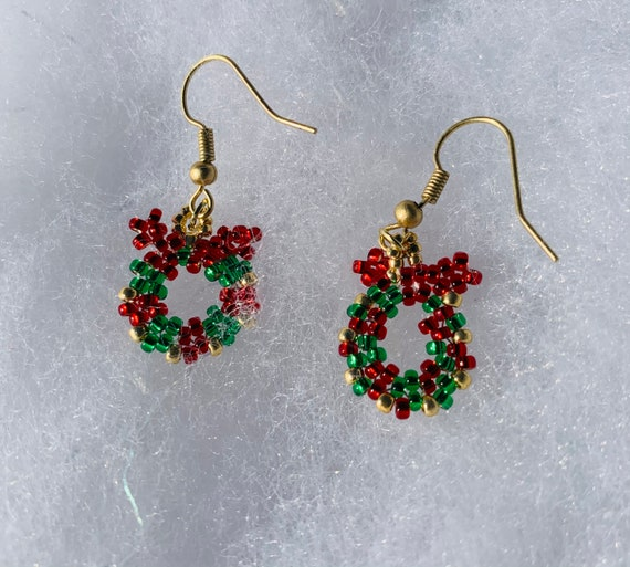 Christmas wreath earrings will add sparkle and shine to your ensemble.