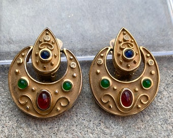 Vintage Etruscan Revival Mogul Gripoix Coin Clip Earrings Statement Earrings 1980s Runway Jewelry Gold Tone with Colorful Cabochons