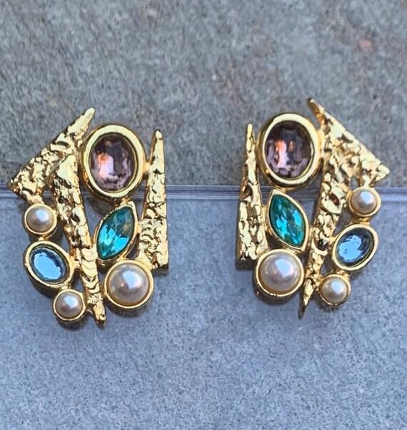 AMAZING Vintage Gold Modernist Rhinestone Earrings