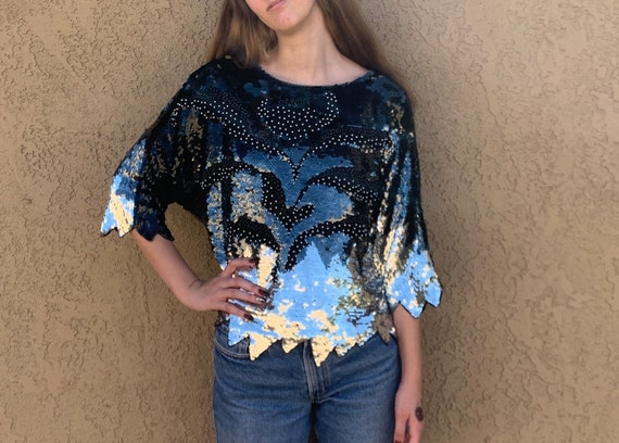 1980s Sequined Slouchy Blouse