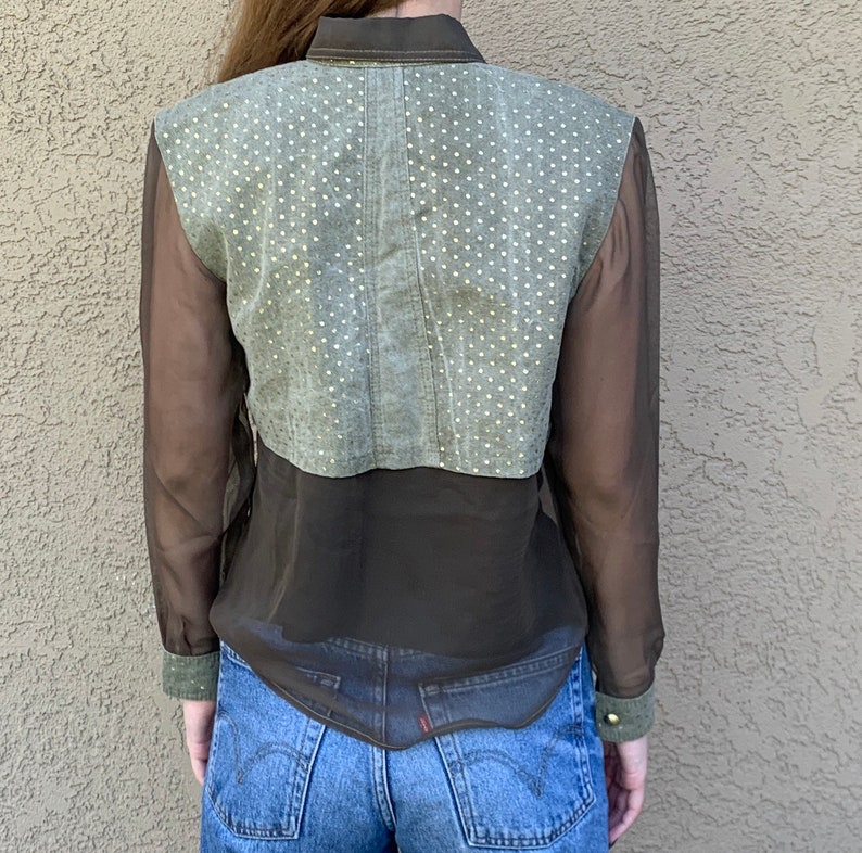 SUPERB Vintage Vera Cristina Blouse 1980s 1990s Runway Couture Khaki Green Quilted Denim with Sheer Chiffon Sleeves Gold Polka Dot Studded S