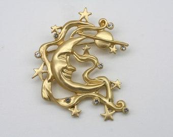 enamel pin gold metal birthday gift gold Badge moon jewel Pins moon botanical
