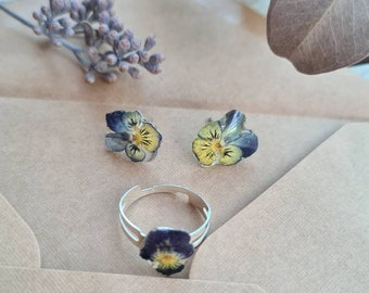 Real Ivy Ring dainty ivy jewellery - Botanical Jewelry Resin Jewellery Pressed Flower ring Real Flower ring 3st. green leaf jewellery