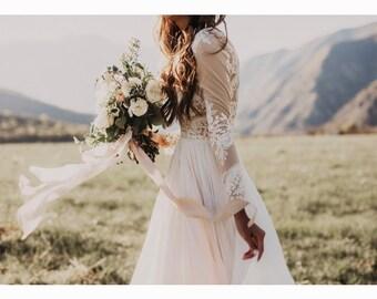 Camille' stunning long sleeve lace and chiffon wedding dress with train, boho wedding dress, bohemian wedding gown