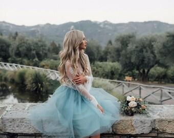 Gorgeous Boho Princess tea length turquoise blue tulle skirt