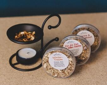 Smoking set, pure natural smoking mixtures including tealight pots, smoked wood herbal incense, winter fragrance set