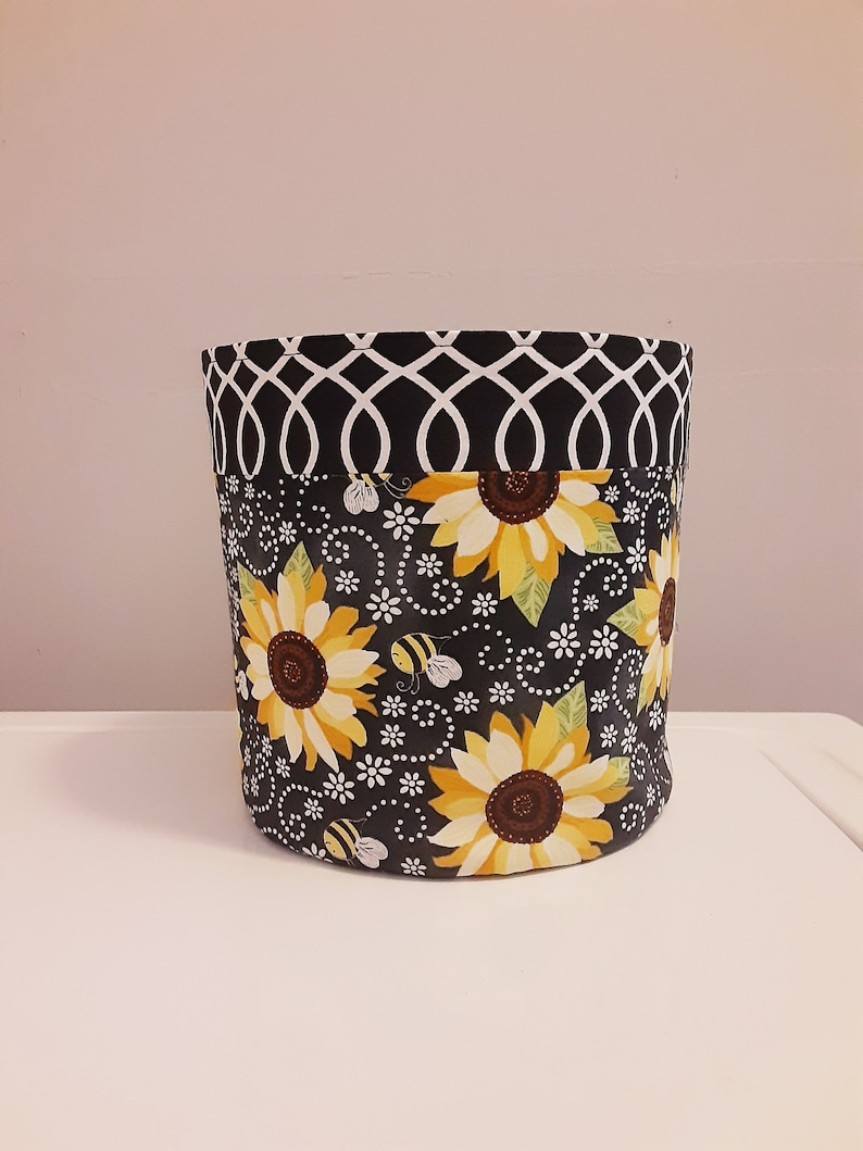 SUNFLOWER BUMBLEBEE fabric pot cover house plants or flower image 0