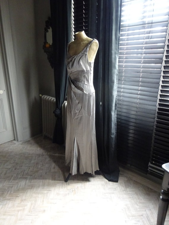 Vintage KAREN MILLEN DRESS-Silver Sheath Evening D