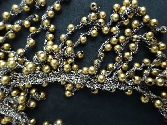 1930s LAME' and BRASS NECKLACE-30s Lame' and Bras… - image 5