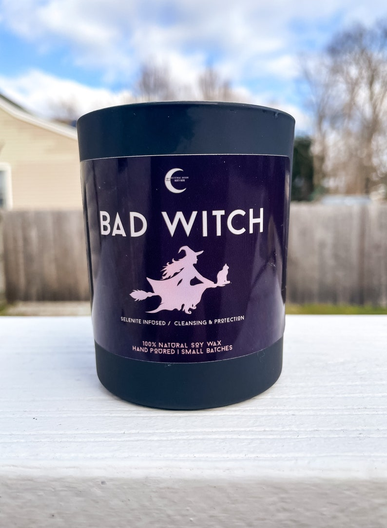 Witchy Candles Ritual Candles Earthy Candles Bad Witch Black Jar Candle Selenite Spell Candles Patchouli Soy Wax Candles