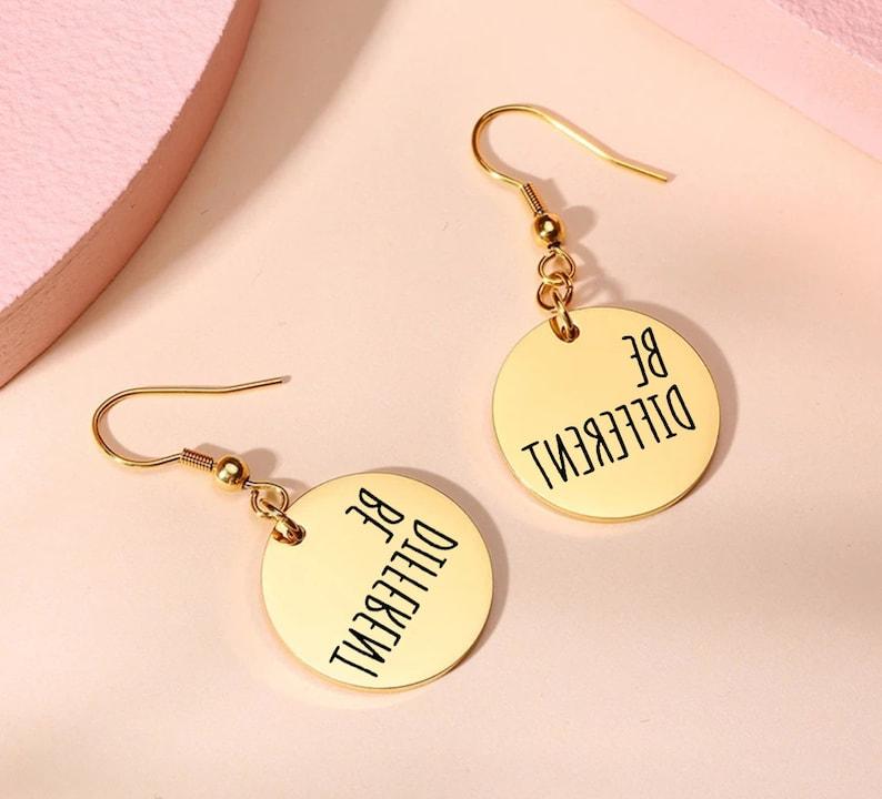 Custom Earrings Be Different Laser Engraved Earrings Be Different Gold-Silver-Rose Gold Earrings Personalized Earrings